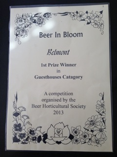 Belmont House Beer wins 1st Prize in the Guesthouse category of 'Beer in Bloom 2013'